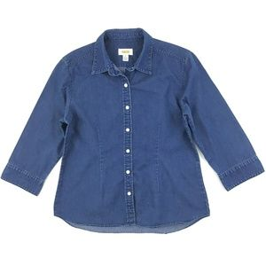 Talbots Button Down Shirt Medium Blue Medium